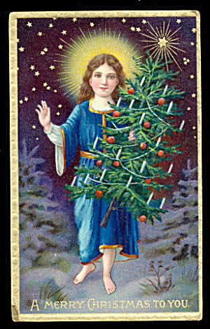 Merry Christmas Boy/child & Tree 1907 Postcard