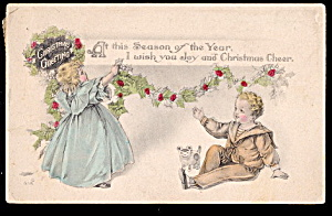 Lovely G & B Children Christmas 1915 Postcard (Image1)