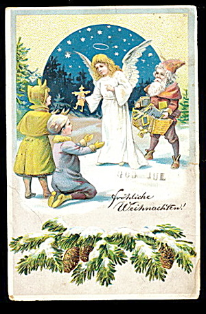 1905 German Christmas Angel & Santa Postcard