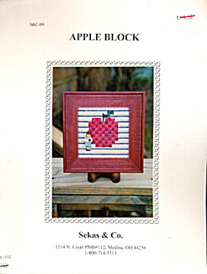 'Apple Block' Apple w Child Cross Stitch Pattern (Image1)