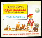 Click here to enlarge image and see more about item 000ADVBUS: 1950s Buster Brown Rub-R-Doodles Time Machine Book