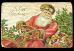 Father Christmas Driving Car 1907 Postcard