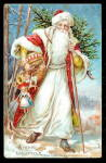 1907 Father Christmas with Tree in Robe Postcard