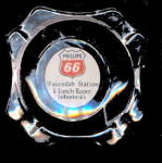 Click here to enlarge image and see more about item 000ASH3: Vintage Glass Phillips 66 Oil/Gas Ashtray