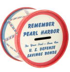 Click here to enlarge image and see more about item 000BANK35: Ohio Art Remember Pearl Harbor Coin Metal Bank