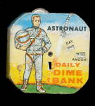 Click here to enlarge image and see more about item 000BANK601: 1950 Kalon Astronaut Daily Dime Register Bank