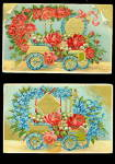 Click here to enlarge image and see more about item 000BDAY140: 2 1908 Birthday Floral Automobiles Postcards