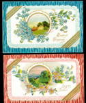 Click here to enlarge image and see more about item 000BDAY2: 2 Greetings with Ribbons 1908 Postcards