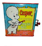 Click here to enlarge image and see more about item 000BOX1: 1970s Harvey Comics 'Casper' Tin Music Jack in the Box