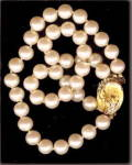 Click here to enlarge image and see more about item 000BRA58: Lovely Vintage Japan Faux Pearl 2 Strand Bracelet