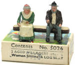 Click here to enlarge image and see more about item 000BRIT5026: 1930s Britains 5026 Aged Villagers on Log in Box