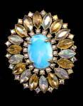 "Vintage N R Blue/Aqua Aurora Borealis 3""  Brooch"
