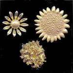 3 Vintage Goldtone Flower (Sunflower, etc) Brooches