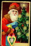 Brown Fur Santa Claus with Presents 1910 Postcard