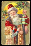 Brown Fur Santa Claus with Girl 1910 Postcard