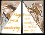 Click here to enlarge image and see more about item 000COBB112: 2 1910 Cobb Shin Monkey Comic Postcards