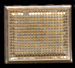 Click here to enlarge image and see more about item 000COMP30: 1950s Gold Tone Mesh Front Compact