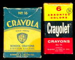 Click here to enlarge image and see more about item 000CRAY1: 2 1940s Packs of Crayons Including Crayola