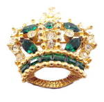 Click here to enlarge image and see more about item 000CROWN2: Vintage Bellini Crowns with Stones Pin/Brooch