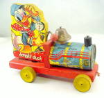 Click here to enlarge image and see more about item 000FIS1: 1940s Fisher Price #450 Donald Duck Choo Choo Pull Toy