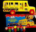 Click here to enlarge image and see more about item 000FISHER24: 1966 Fisher Price School Bus with Original Box