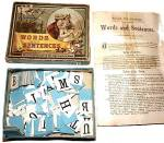 Click here to enlarge image and see more about item 000GAM044: Milton Bradley 'Words and Sentences' Game, ca 1905
