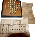 Click here to enlarge image and see more about item 000GAM53: 1880s Nonnenspiel (German Solitaire) with Ivory Pieces