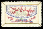 Click here to enlarge image and see more about item 000GRE122: 1908 Embroidered Silk With Love Envelope Postcard