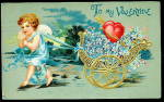 Click here to enlarge image and see more about item 000GRE210: 1906 Cherub with Hearts Valentines Day Postcard