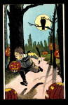 Running Boy with JOL, Owl Halloween 1908 Postcard