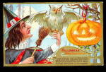 Click here to enlarge image and see more about item 000HALLO48: Witch with Owl & JOL Halloween 1909 Postcard