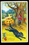 Click here to enlarge image and see more about item 000HALLO53: 1914 Halloween Winsch JOL & Cat Postcard