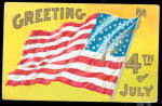 Fourth of July Greetings Flag 1908 Postcard