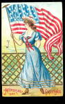 Memorial Day Lady with Flag Greetings 1908 Postcard