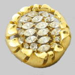 Click here to enlarge image and see more about item 000MON18: Monet Goldtone with Glass Round Brooch