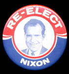 "Click here to enlarge image and see more about item 000NIX02: 1968 3 1/2"" Re-Elect Nixon Political Button"