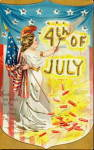 Tucks July 4th Girl with Flag 1907 Postcard