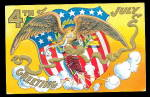 Click here to enlarge image and see more about item 000PAT710: July 4th Greetings Eagle with Flag 1907 Postcard