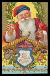Click here to enlarge image and see more about item 000PC17: Santa Claus Toasting w Champagne Postcard