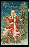 1907 Santa Claus Blowing Horn with Cherubs Postcard