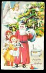 Santa Claus in Blue Hat with Girls 1908 Postcard