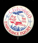 Click here to enlarge image and see more about item 000PIN723: 1929 Chicago Endurance Flight Pin Pinback