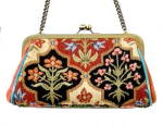 Click here to enlarge image and see more about item 000PUR180: Vintage Isabella Fiore Beaded Floral Hand Bag