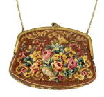 Click here to enlarge image and see more about item 000PUR46: Vintage Petit-Roses Embroidered Purse/Bag