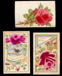 Click here to enlarge image and see more about item 000ROS1: 3 Velvet/Felt Roses or Flowes Greetings 1907 Postcards