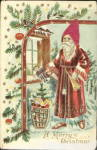 1908 Silk Hat Santa Claus with Pine Postcard