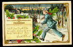 1906 Christmas Postal Telegraph Telegram Boy Postcard