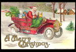 Santa Claus in Automobile with Toys 1907 Postcard