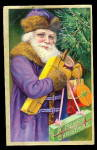 Click here to enlarge image and see more about item 000SAC308: Purple Robe Santa Claus with Tree 1908 Postcard
