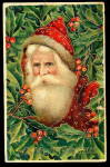 1910 Fur Coat Santa Claus with Holly Postcard